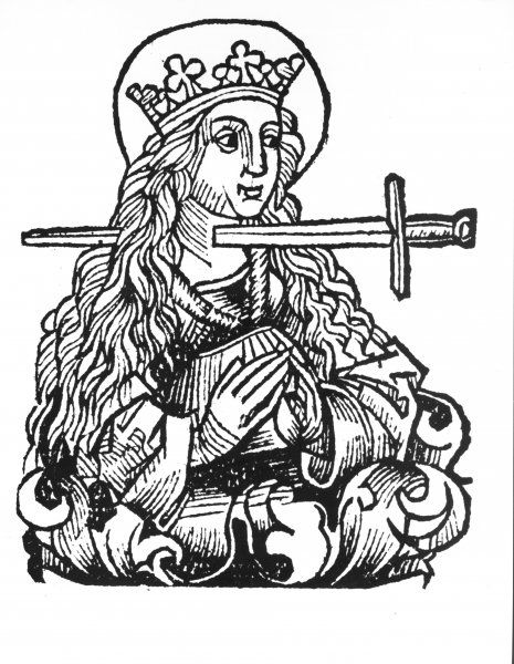 Medieval Woodcuts For Every Occasion praying woman with sword in throat