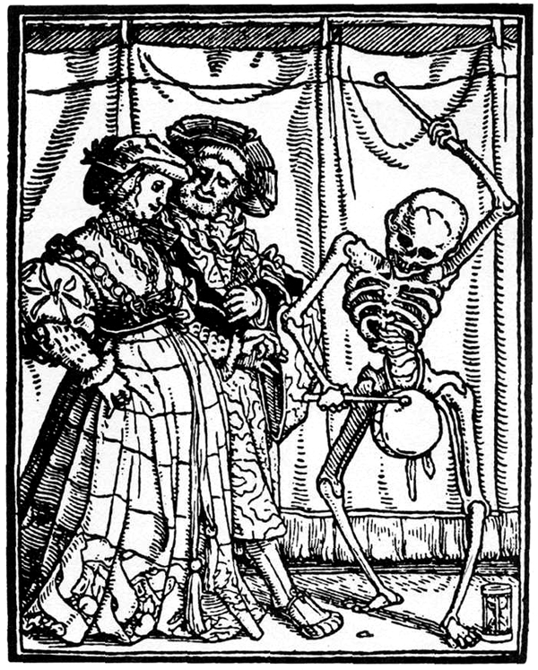 Medieval Woodcuts For Every Occasion skeleton banging on drum on top of its pelvis in front of horrified onlookers