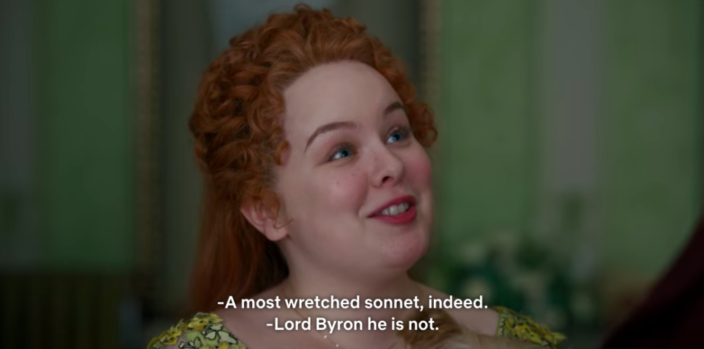 "Colin: ""A most wretched sonnet, indeed."" Penelope: ""Lord Byron he is not."""