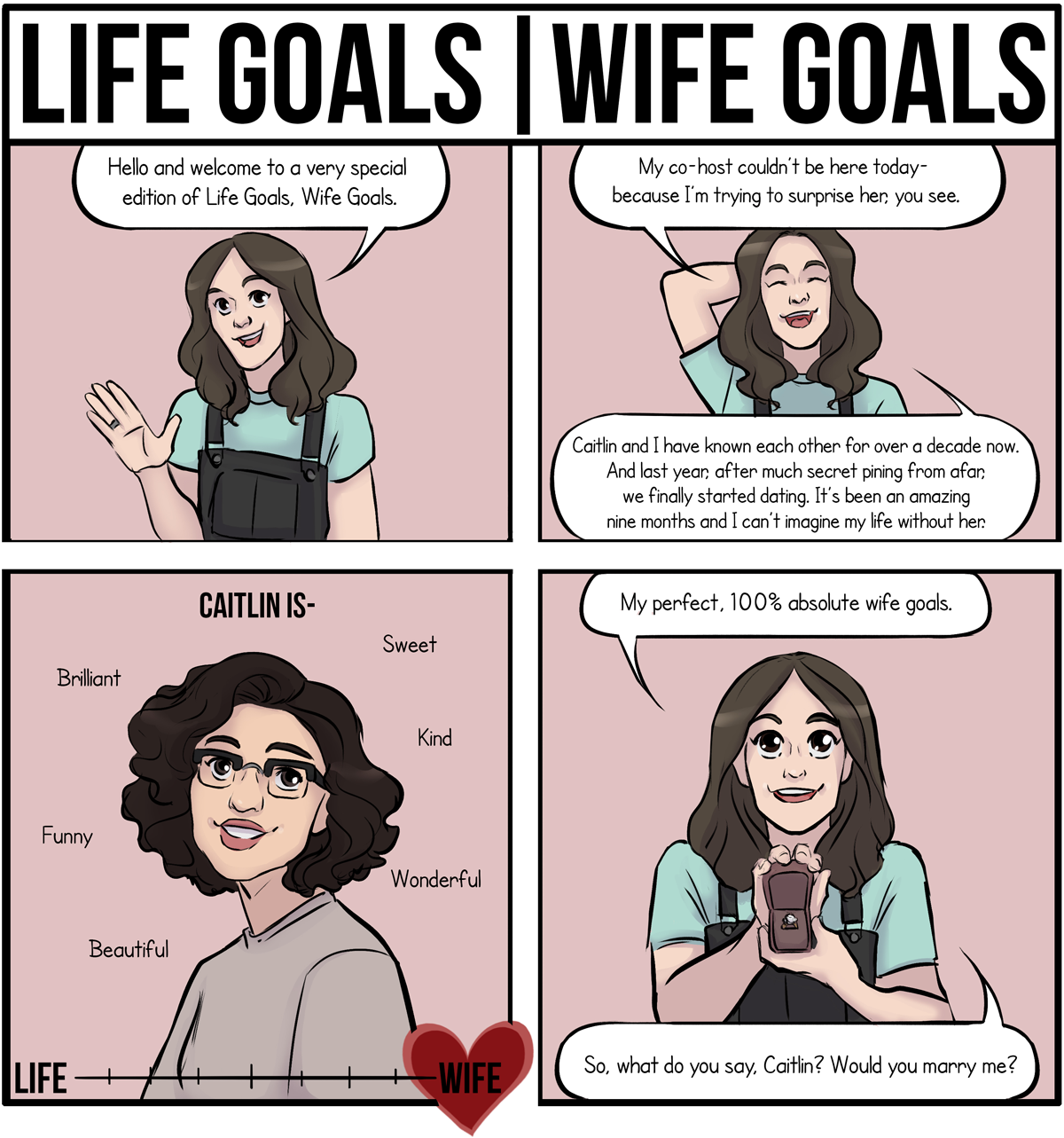 Life Goals, Wife Goals: Hello and welcome to a  very special edition of Life Goals, Wife Goals. My co-hot couldn't be here today - because I'm trying to surprise her, you see. Caitlin and I have known each other for over a decade now. And last year, after much secret pining from afar, we finally started dating. It's been an amazing nine months and I can't imagine my life without her. Caitlin is: Brilliant, Sweet, Kind, Funny, Wonderful, Beautiful. [graph ranging from life to wife, ranking Caitlin as an off-the-charts wife!!!!] My perfect-100% wife goals. So, what do you say, Caitlin? Would you marry me?